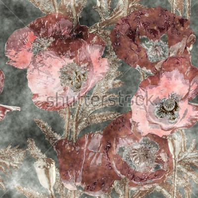 Fotomural arte vintage aquarela colorida floral sem costura padrão com papoulas vermelhas escuras, folhas e gramíneas em fundo