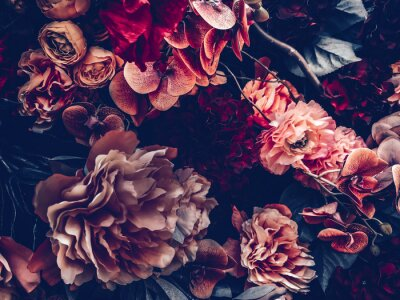 Fotomural artificial flowers wall background with vintage style