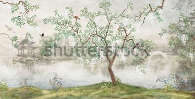 Fotomural Árvore à beira do lago. Paisagem enevoada. Árvore com pássaros no jardim japonês. o mural, papel de parede para impressão de interiores