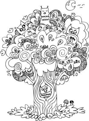 Fotomural Árvore engraçada com uivos bonito