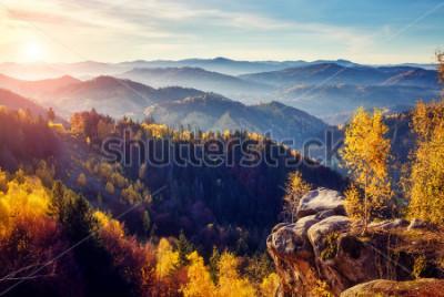 Fotomural Árvores majestosas com feixes ensolarados no vale da montanha. Cena dramática e pitoresca de manhã. Folhas vermelhas e amarelas. Efeito de tonificação quente. Cárpatos, cume de Sokilsky. Ucrânia, Euro