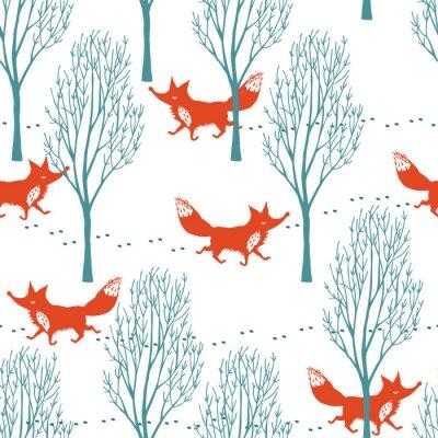 Fotomural As raposas vermelhas em uma floresta fundo inverno