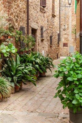 Fotomural As ruas da antiga cidade italiana de Pienza, Toscana