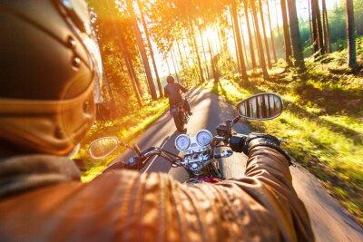 Fotomural Assento do homem na motocicleta na estrada de floresta.