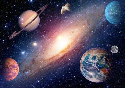 Fotomural Astrologia astronomia terra lua espaço exterior marte saturno sistema solar planeta galáxia. Elementos desta imagem fornecida pela NASA.