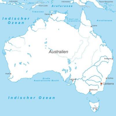 Fotomural Austrália em Weiß (beschriftet) - Vektor