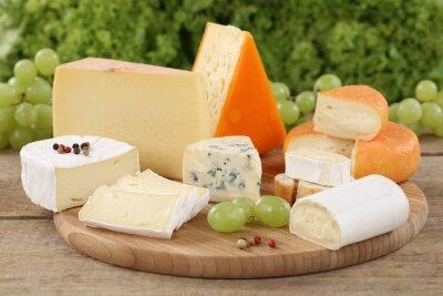 Fotomural Auswahl um Käse wie Camembert, bergkäse und Schweizer Käse