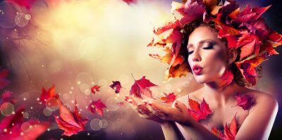 Fotomural Autumn woman blowing red leaves - Beauty Fashion Model Girl