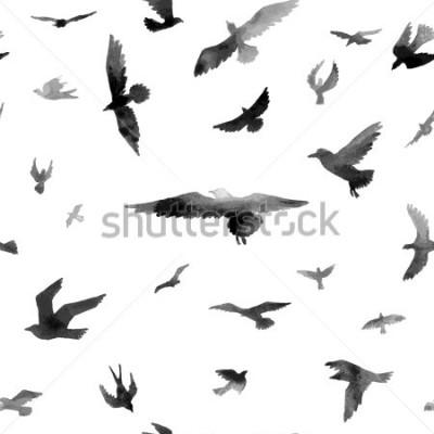 Fotomural Aves Aquarela sem costura padrão. Ilustração da grade.
