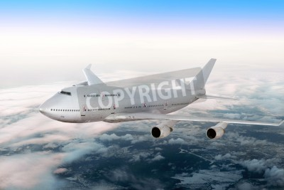 Fotomural Avião moderno sobre as nuvens.