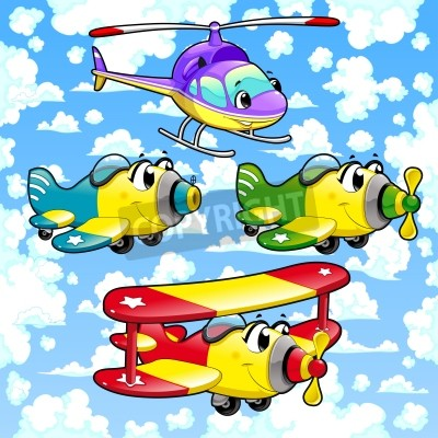 aviões dos desenhos animados e helicóptero no céu ilustração