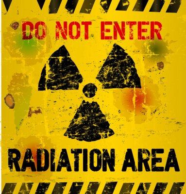 Fotomural Aviso de área de radiação, ilustração vetorial