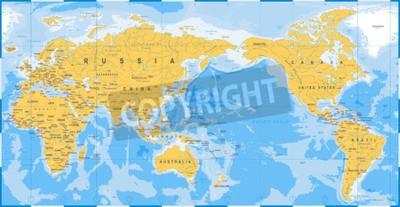Fotomural Azul amarelo do mapa de mundo, Ásia no vetor Center.