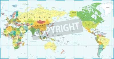 Fotomural Azul branco do mapa do mundo, vetor de Ásia no centro.