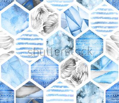 Fotomural azul padrão sem emenda geométrico sobre fundo branco. Hexágono de aquarela abstrata com folhas de monstera, listras. textura grunge. Ilustração do verão de pintados à mão. Estilo marinho