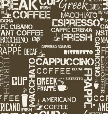 Fotomural Background seamless tile of coffee palavras e símbolos