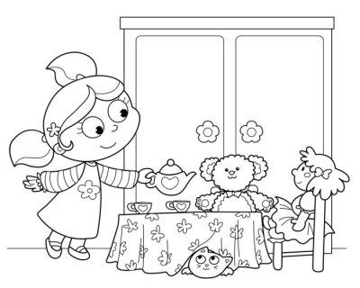 Fotomural Bambina che Gioca um servire il te alle bambole