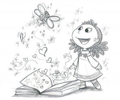 Fotomural Bambina con libro fantasia