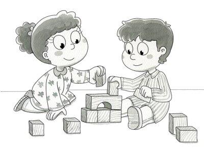 Fotomural Bambini che giocano con cubetti. Bn