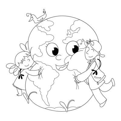 Fotomural Bambini felici la terra che abbracciano porque colorare
