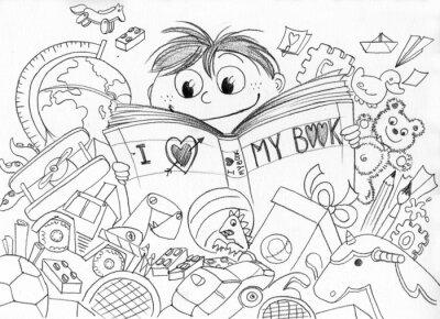 Fotomural Bambino che ama la lettura realizzato um matita