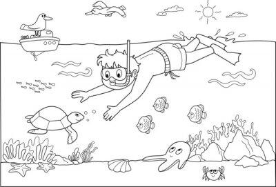 Fotomural Bambino che nuota sotto acqua con i Pesci.