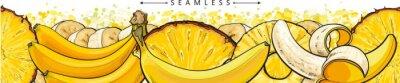 Fotomural Banana and pineapple seamless pattern or endless border sketch vector illustration.