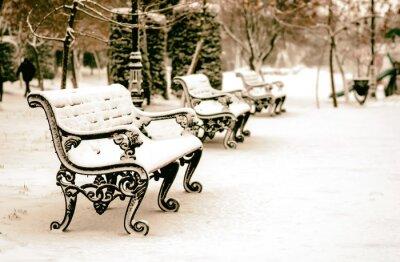 Fotomural Banco, neve, Inverno, parque