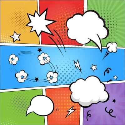 Fotomural Banda desenhada e bolhas cómicas do discurso sobre colorido de intervalo mínimo