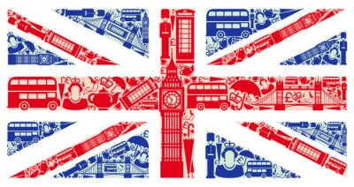 Fotomural Bandeira da Inglaterra a partir de símbolos do Reino Unido e Londres
