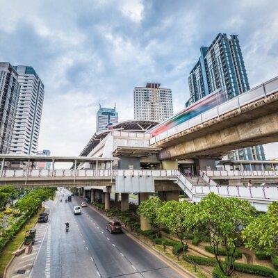 Fotomural Bangkok, metro, estação, anoitecer