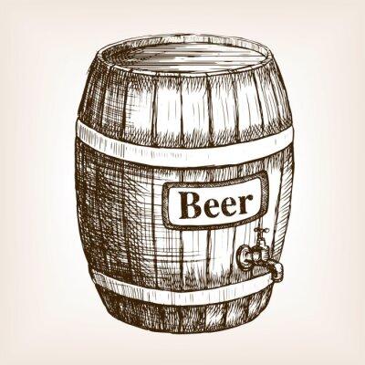 Fotomural Barril, cerveja, esboço, estilo, vetorial
