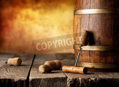 Fotomural Barril, vinho, saca-rolhas, madeira, tabela