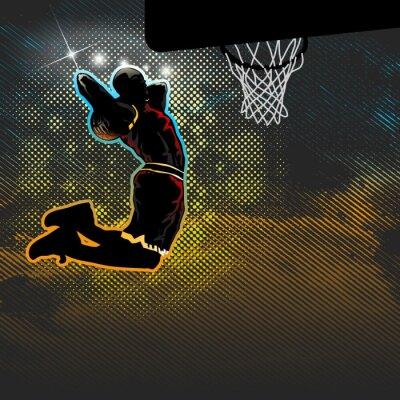 Fotomural Basquetebol, jogador, vai, dois, dunk