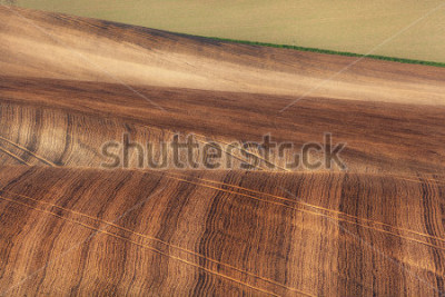 Fotomural Beautiful concept landscape with striped fields of South Moravia at sunset, abstract background