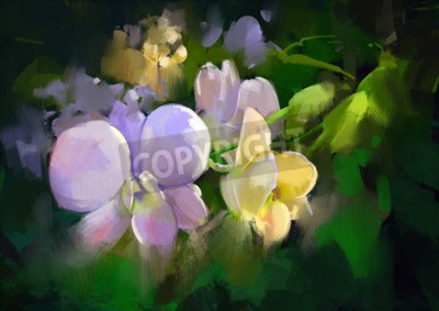 Fotomural beautiful painting of orchid flowers
