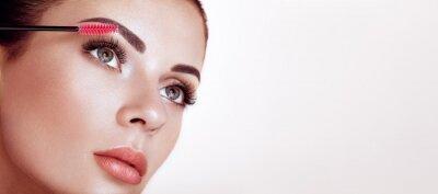 Fotomural Beautiful Woman with Extreme Long False Eyelashes. Eyelash Extensions. Makeup, Cosmetics. Beauty, Skincare