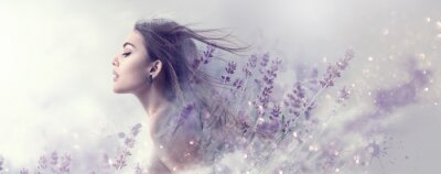 Fotomural Beauty model girl with lavender flowers . Beautiful young brunette woman with flying long hair profile portrait. Fantasy watercolor