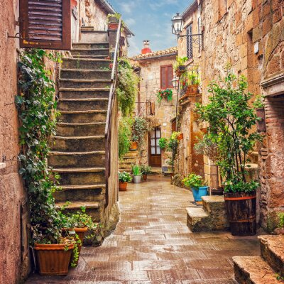 Fotomural Beco na cidade velha Pitigliano Toscana Itália
