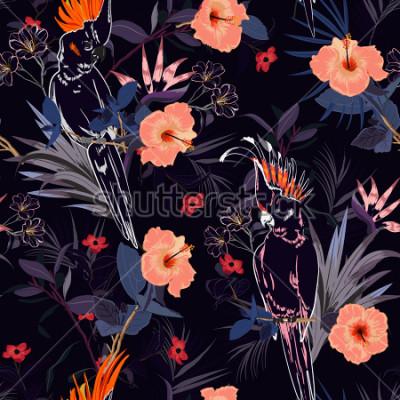 Fotomural Bela estampa floral tropical. Esboce o pássaro do papagaio na selva e as flores na floresta exótica do verão por todo o lado sem projeto, vetor sem emenda do padrão para a forma, wallpaoer e toda