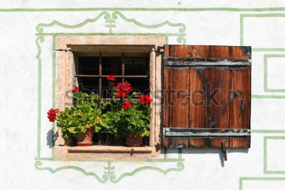 Fotomural Bela janela de casa de campo com flores