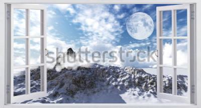 Fotomural Bela paisagem montanhosa, a vista da janela.