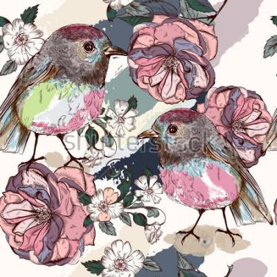 Fotomural Belo padrão botânico em estilo vintage com pássaros e rosas