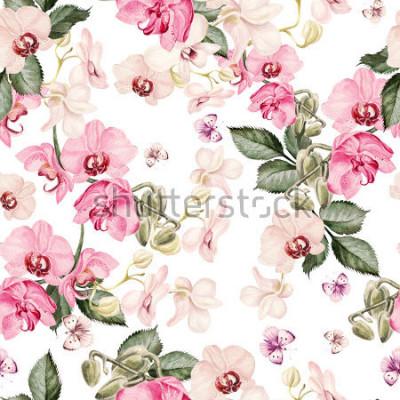 Fotomural Belo padrão de aquarela com flores da orquídea. Ilustração