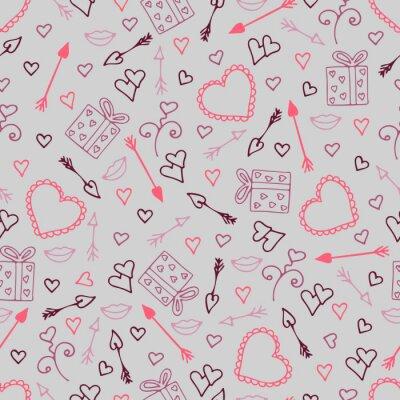 Fotomural Belo padrão sem emenda com corações, setas para os amantes.
