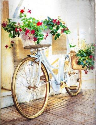 Fotomural bicicleta floral - cartão do vintage