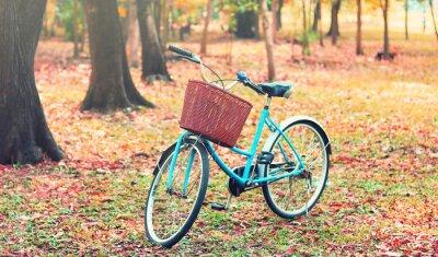 Fotomural Bicicleta para viagens de lazer. (Foco na cesta) no tom retro do vintage