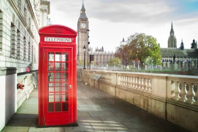 Fotomural Big Ben e cabine de telefone vermelha em Londres