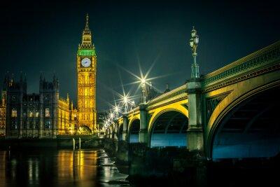 Fotomural Big Ben e casas do parlamento, ao anoitecer, Londres, Reino Unido