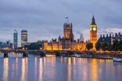 Fotomural Big Ben e Westminster Bridge, ao anoitecer, Londres, Reino Unido